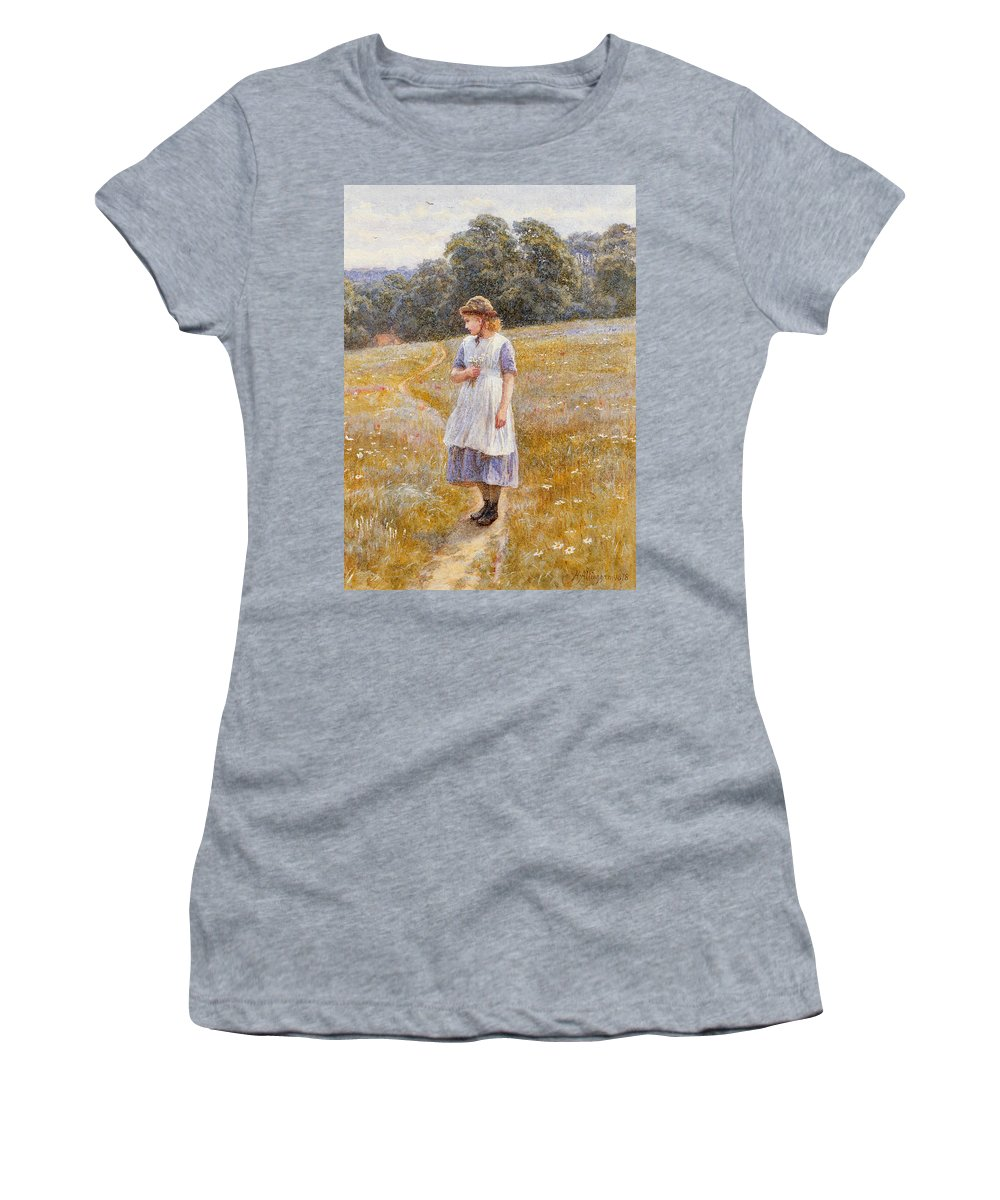 Daydreaming; Daydream; Female; Young; Girl; Full Length; Landscape; Rural; Country; Countryside; Field; Cottage; House; Path; Blue; Dress; Flowers; Daisies; Meadow; Sunny; Bouquet; Bunch; Posy; Picking; Walking; Sun; Hat; Youth; Idleness; Leisure Women's T-Shirt (Athletic Fit) featuring the painting Daydreamer by Helen Allingham