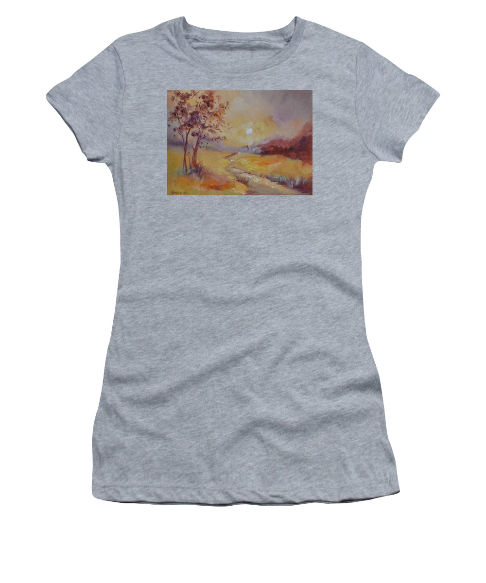 Evening Landscape Women's T-Shirt (Athletic Fit) featuring the painting Day's End by Ginger Concepcion