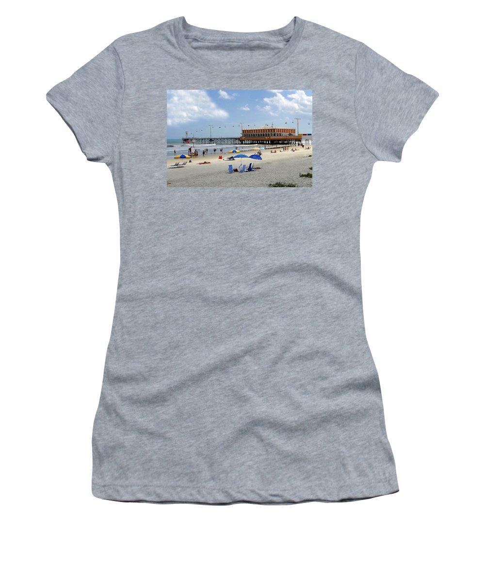Daytona Beach Florida Women's T-Shirt (Athletic Fit) featuring the photograph Daytona Beach Pier by David Lee Thompson