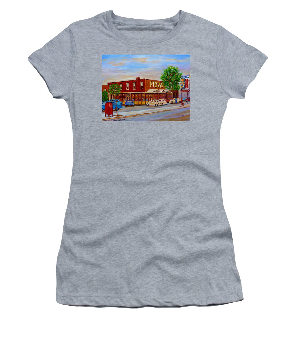 Tasty Food Pizza Women's T-Shirt (Athletic Fit) featuring the painting Decarie Tasty Food Pizza by Carole Spandau