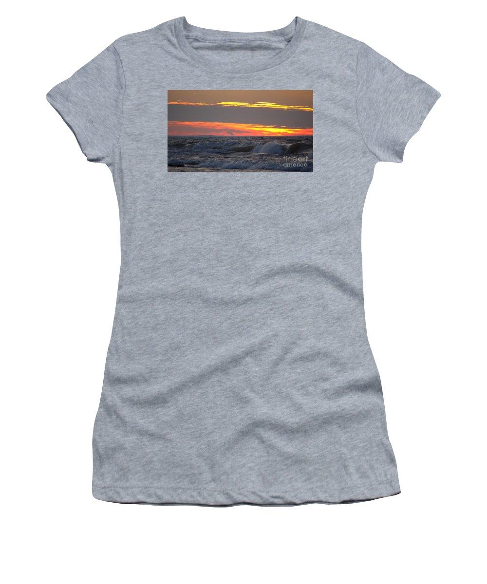 Grand Bend Women's T-Shirt featuring the photograph December Swells 6 by John Scatcherd