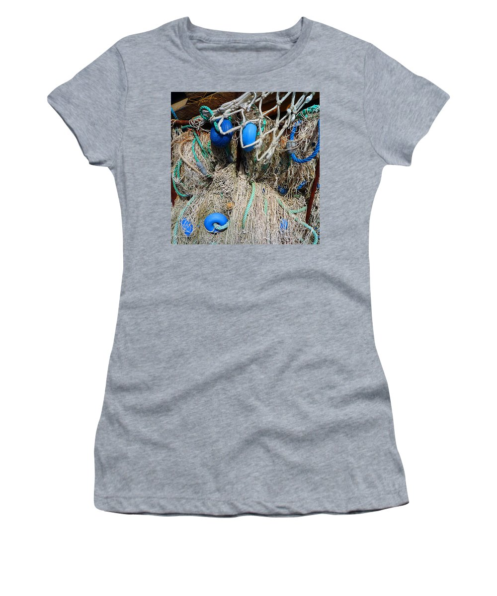 Fishing Net Women's T-Shirt (Athletic Fit) featuring the photograph Deep Blue Discs by Charles Stuart