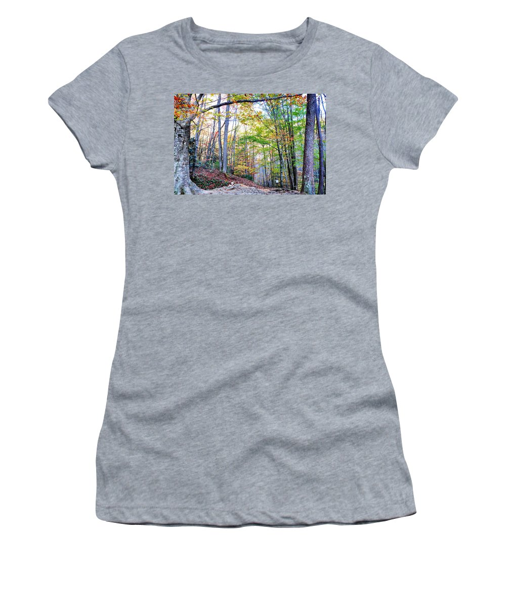 Smokey Mountain Women's T-Shirt (Athletic Fit) featuring the photograph Deep In The Forest by Brittany Horton