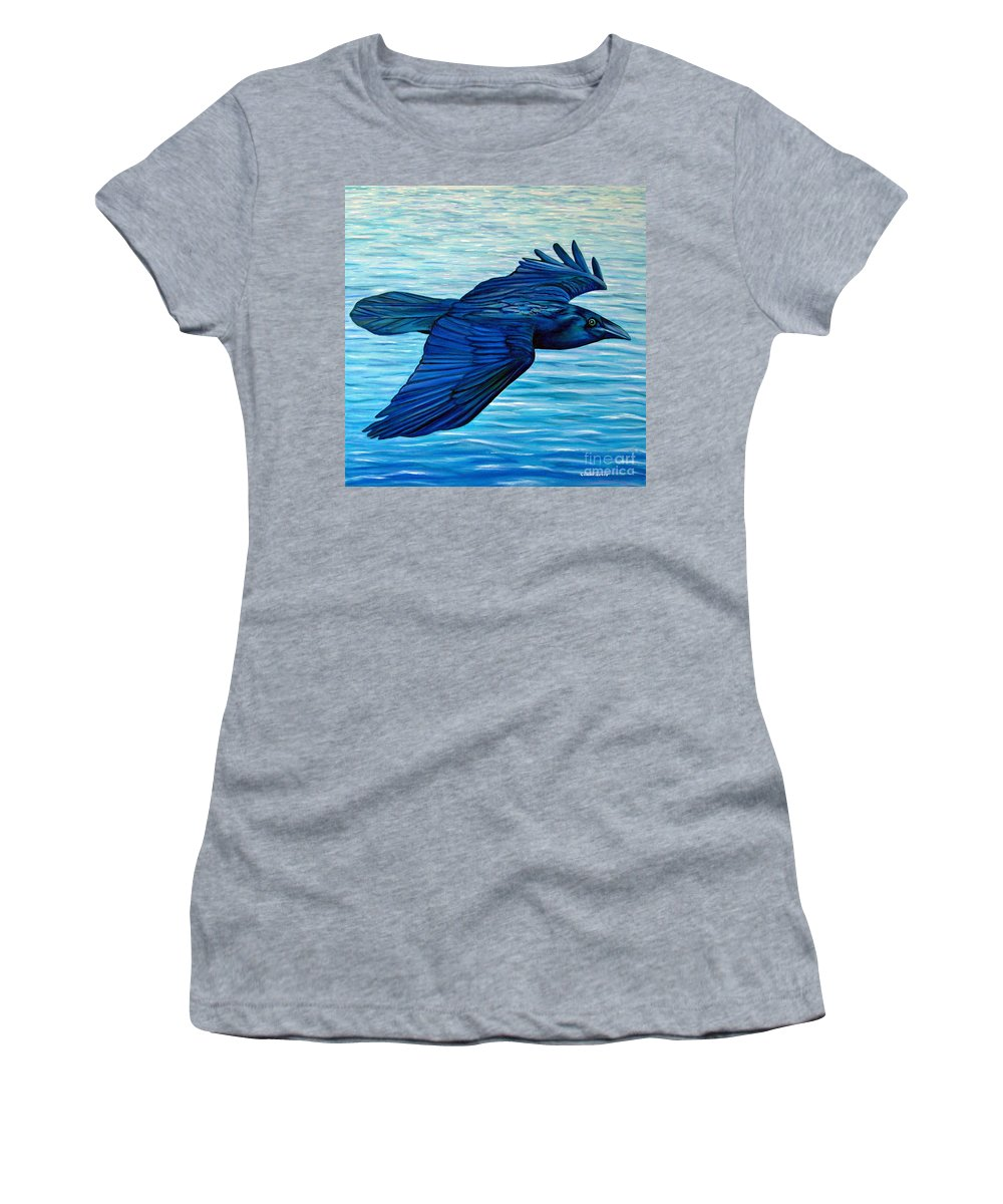 Raven Women's T-Shirt featuring the painting Deliverance by Brian Commerford