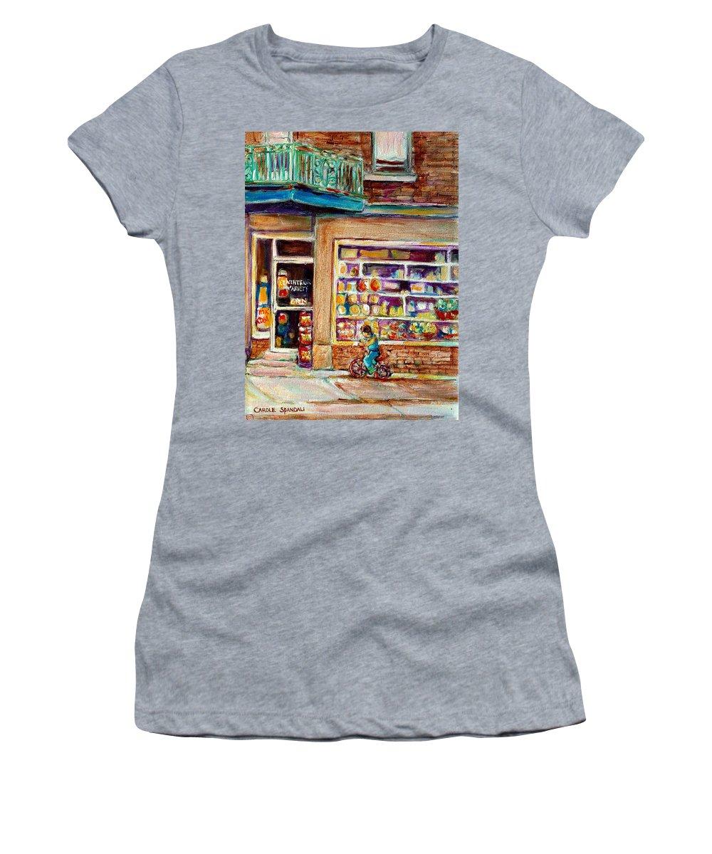 Montreal Women's T-Shirt (Athletic Fit) featuring the painting Depanneur St.viateur by Carole Spandau