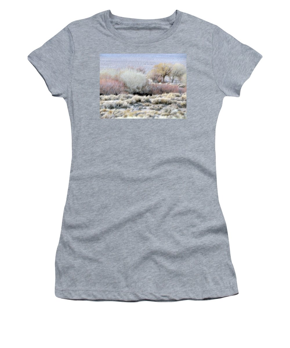 Landscape Women's T-Shirt (Athletic Fit) featuring the photograph Desert Burro's... by Alan Olmstead