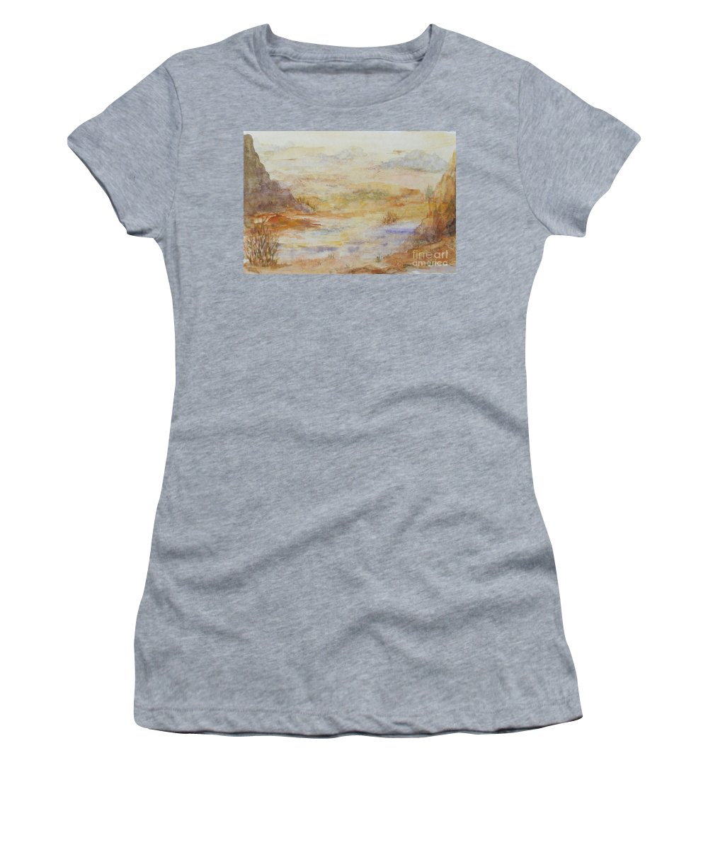 Red Rock Women's T-Shirt (Athletic Fit) featuring the painting Desert Canyon by Vicki Housel