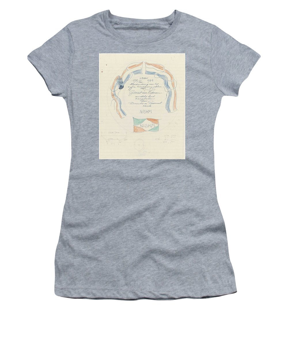 Pattern Women's T-Shirt featuring the painting Design For A Plate On The Occasion Of The 25th Anniversary Of Gerrit Van Heteren, Carel Adolph Lion by Carel Adolph Lion Cachet