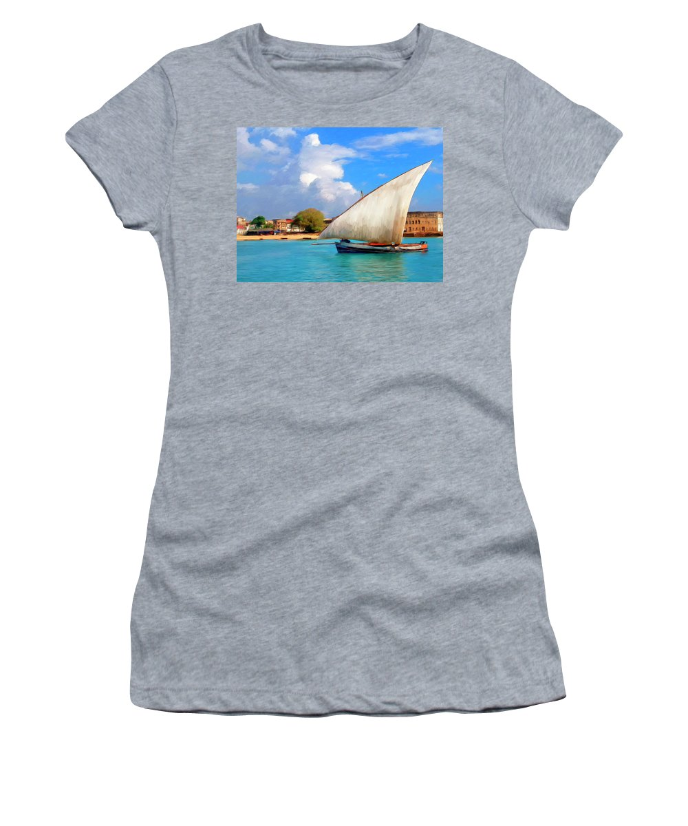 Dhow Off Zanzibar Women's T-Shirt (Athletic Fit) featuring the painting Dhow Off Zanzibar by Dominic Piperata