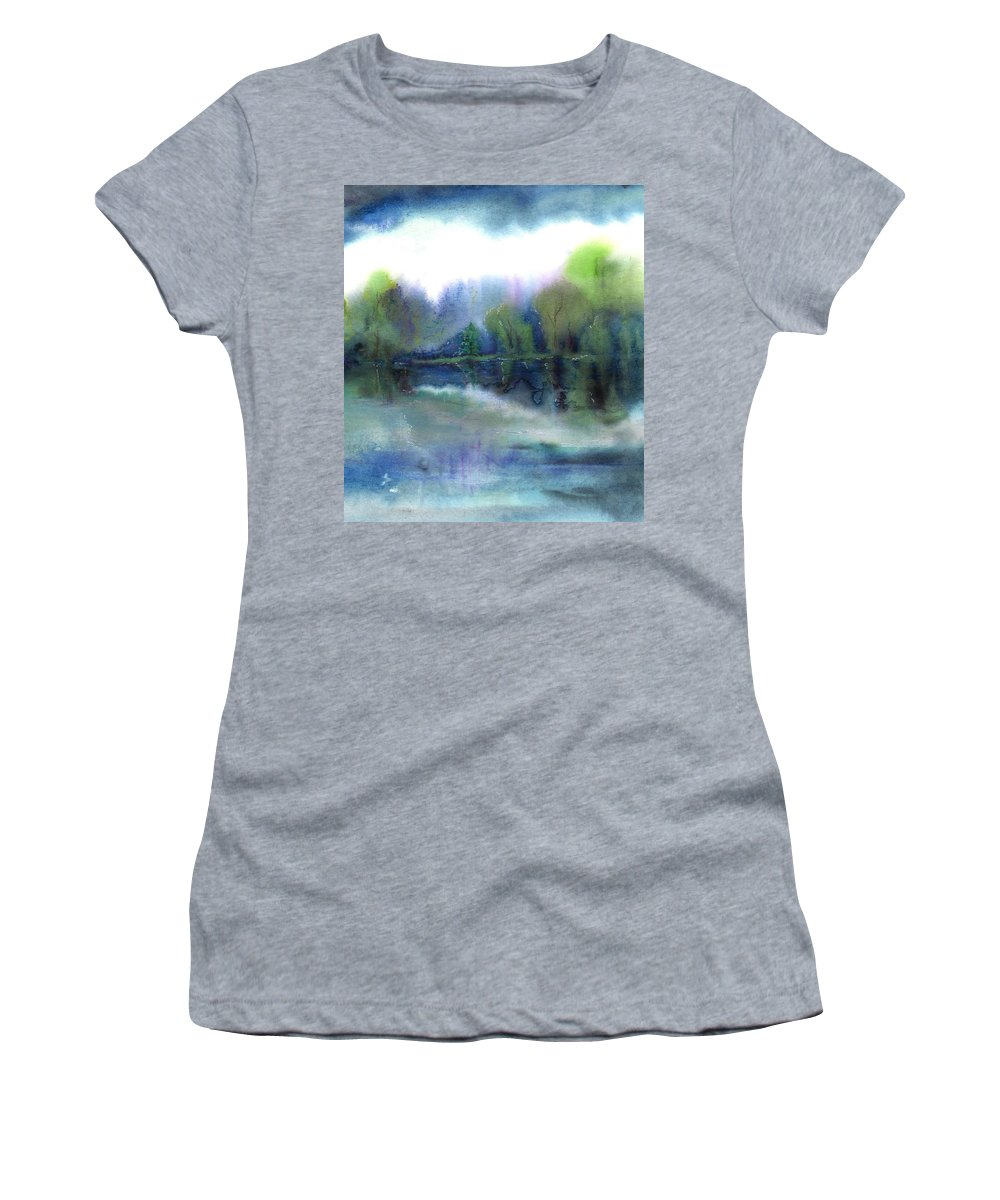 Water Women's T-Shirt (Athletic Fit) featuring the painting Diamond Bay by Melody Horton Karandjeff