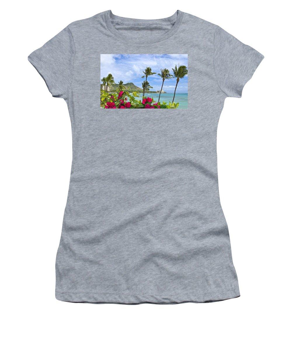Bougainvillea Women's T-Shirt featuring the photograph Diamond Head Scene by Tomas del Amo - Printscapes