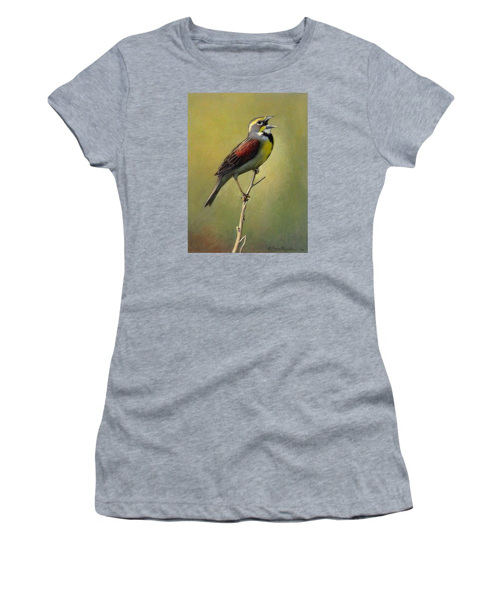 Birds Women's T-Shirt featuring the drawing Dickcissel Summer Song by Bruce Morrison