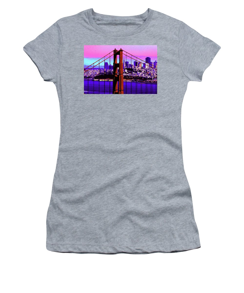 Bay Women's T-Shirt featuring the photograph Digital Sunset - Ggb by Lou Ford