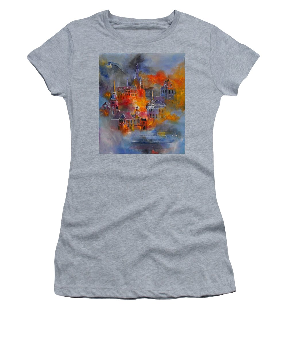 Urban Landscape Women's T-Shirt featuring the painting Dinant 670150 by Pol Ledent