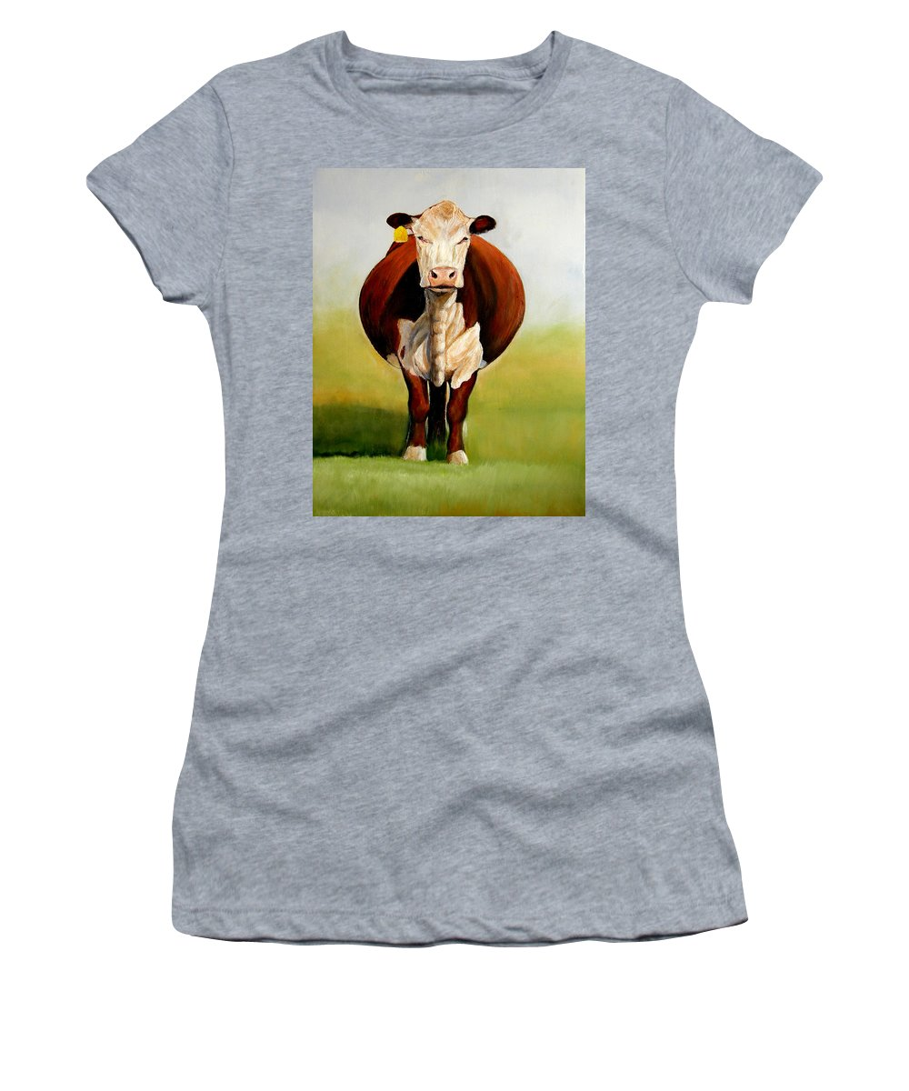 Hereford Women's T-Shirt (Athletic Fit) featuring the painting Do I Look Fat by Toni Grote