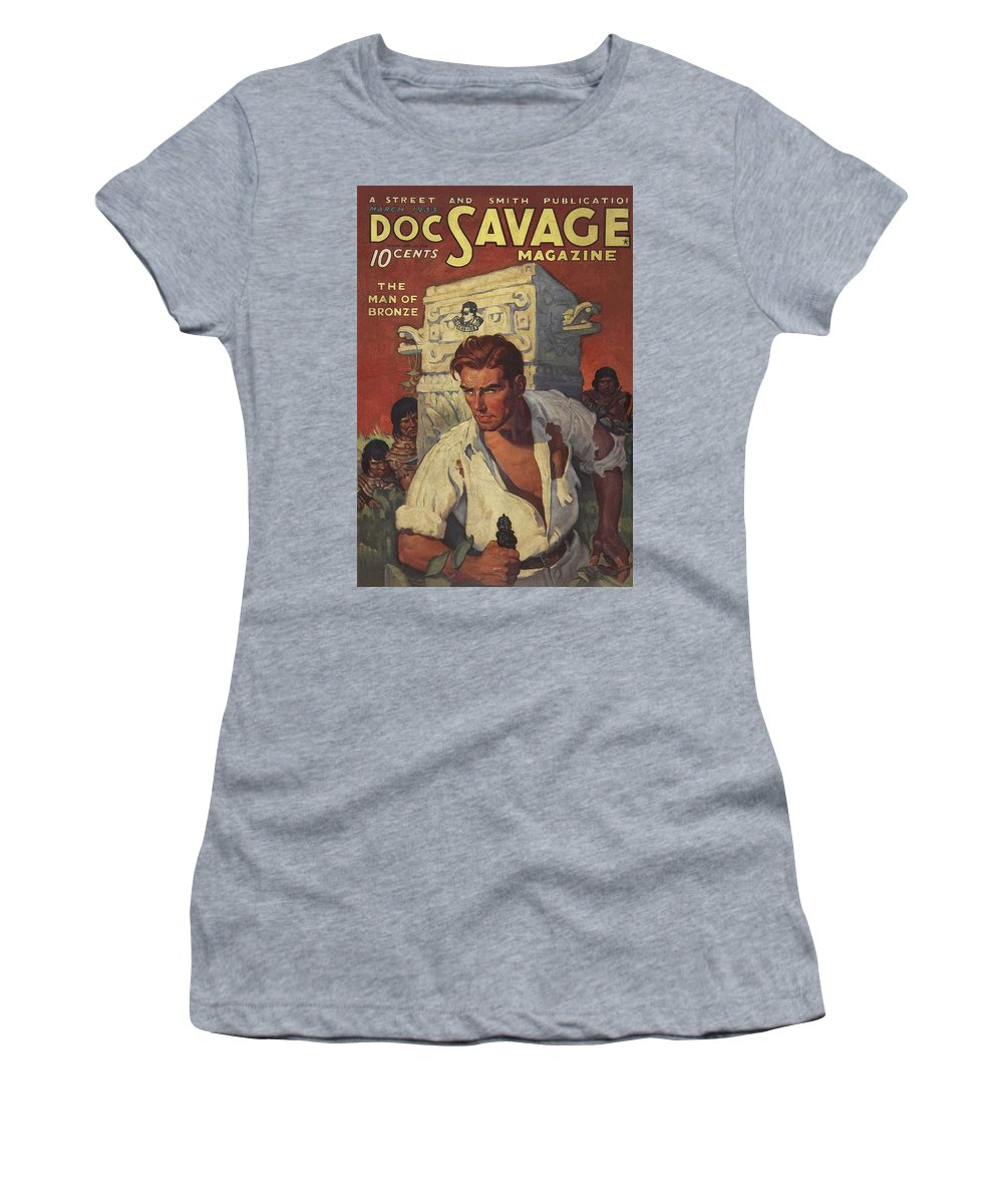Comic Women's T-Shirt featuring the drawing Doc Savage The Man Of Bronze by Conde Nast