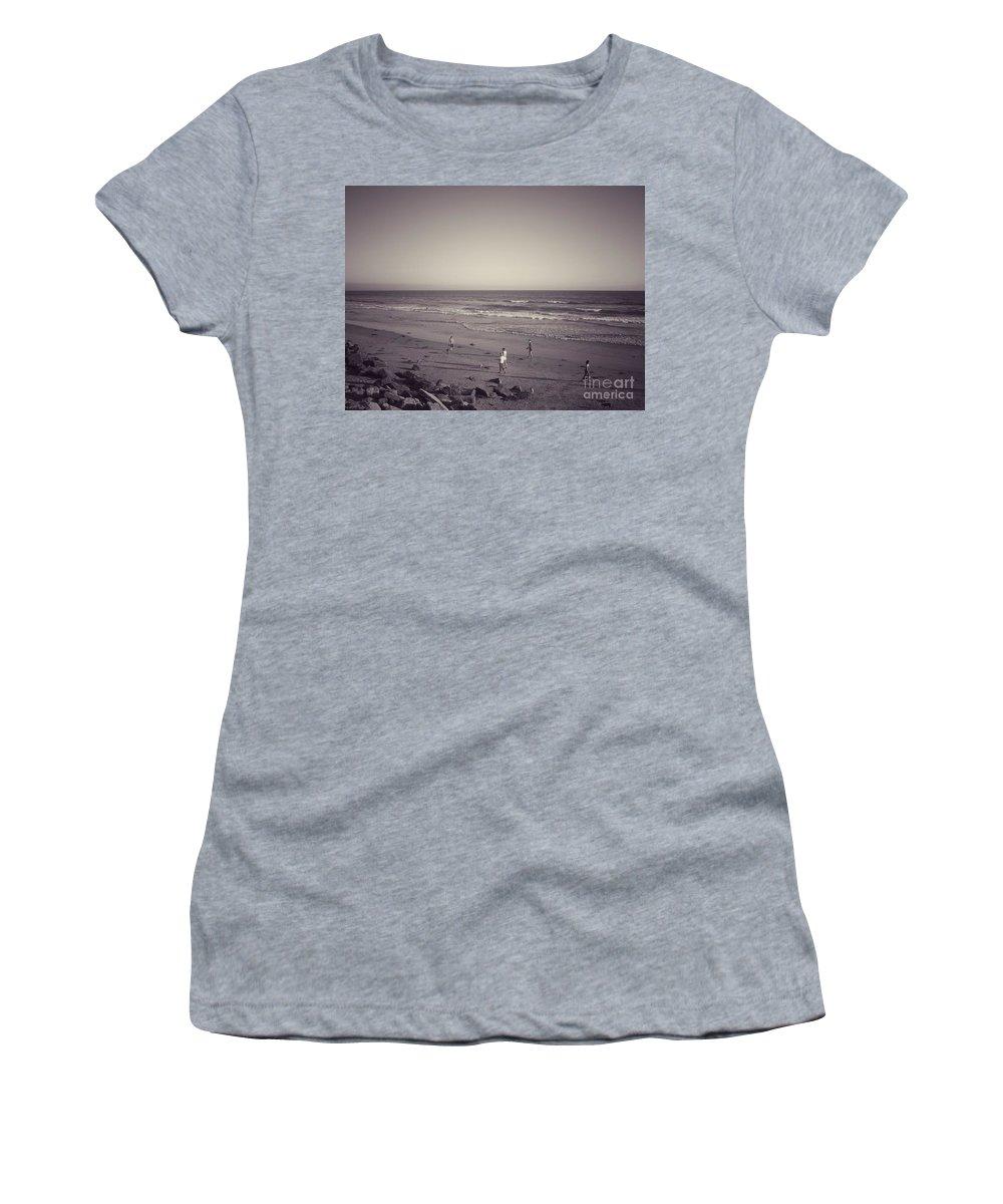 Dog Beach Women's T-Shirt (Athletic Fit) featuring the photograph Dog Beach by Leah McPhail