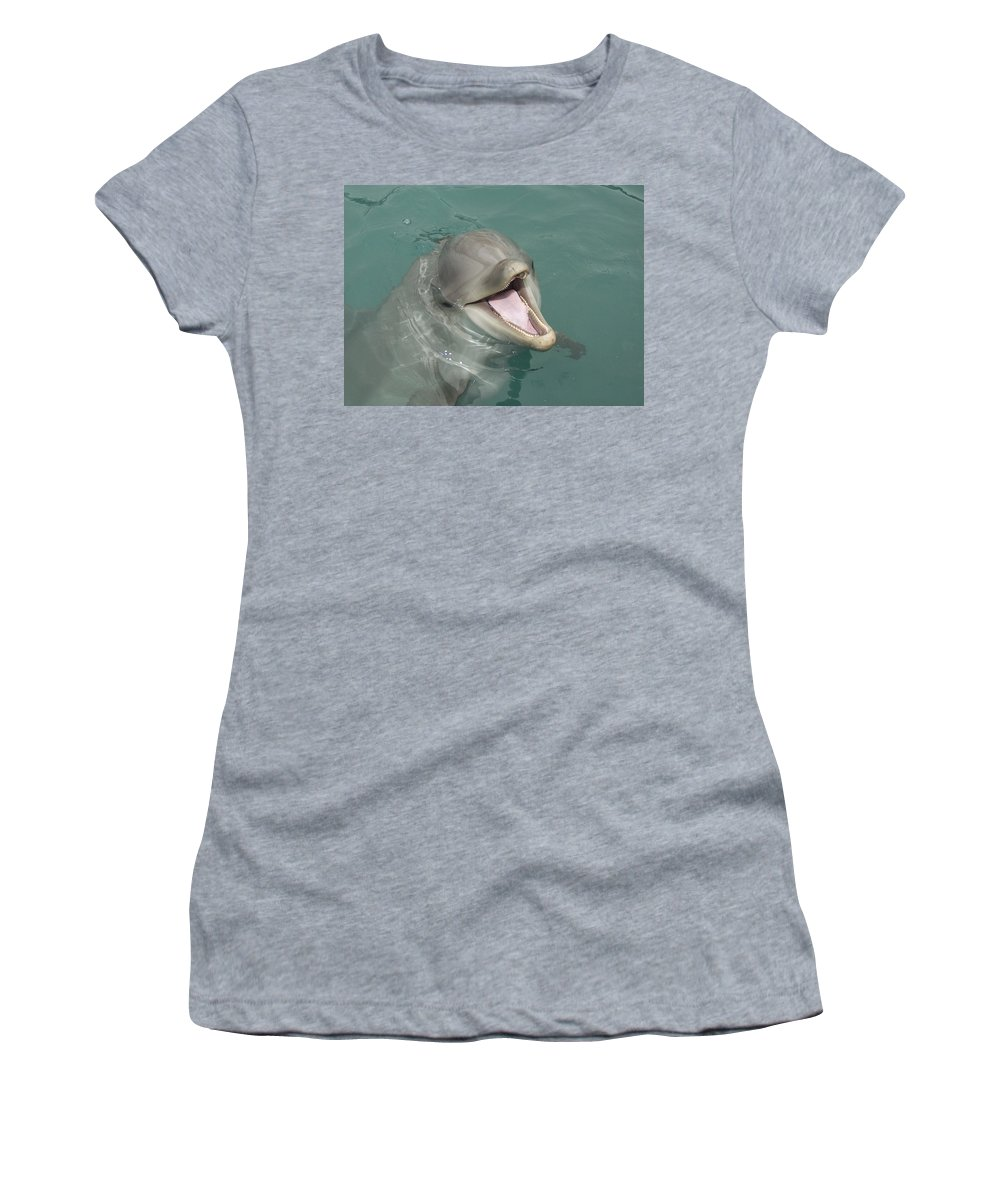 Dolphin Women's T-Shirt (Athletic Fit) featuring the painting Dolphin by Sean M