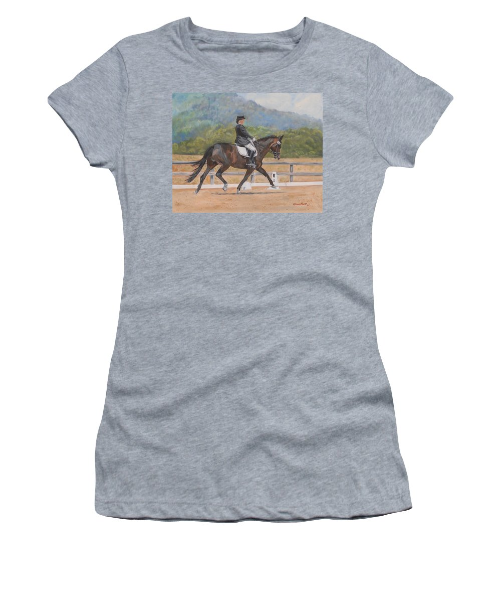Horse Women's T-Shirt (Athletic Fit) featuring the painting Donnerlittchen by Quwatha Valentine