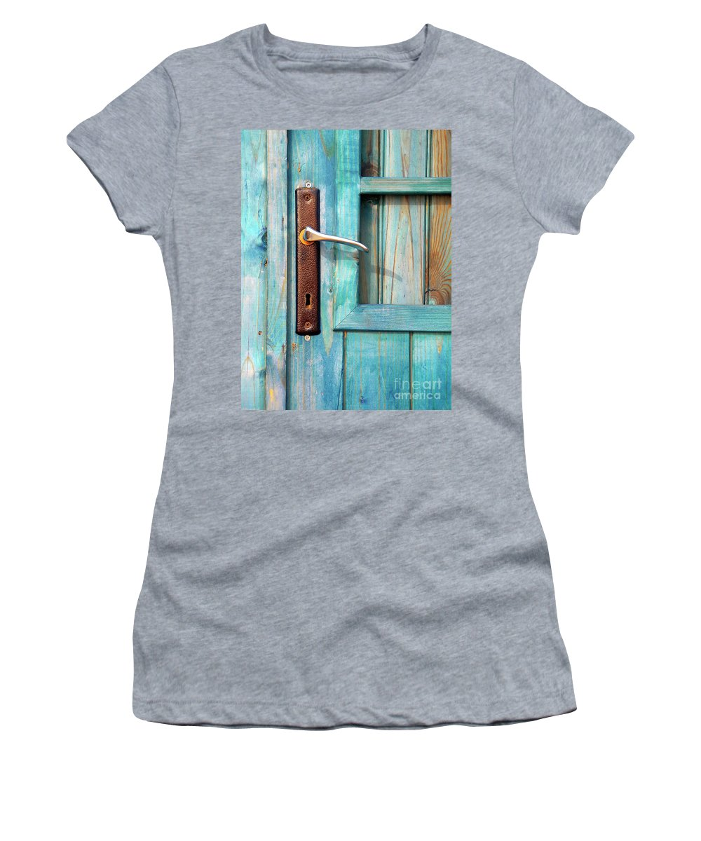 Abandonment Women's T-Shirt (Athletic Fit) featuring the photograph Door Handle by Carlos Caetano