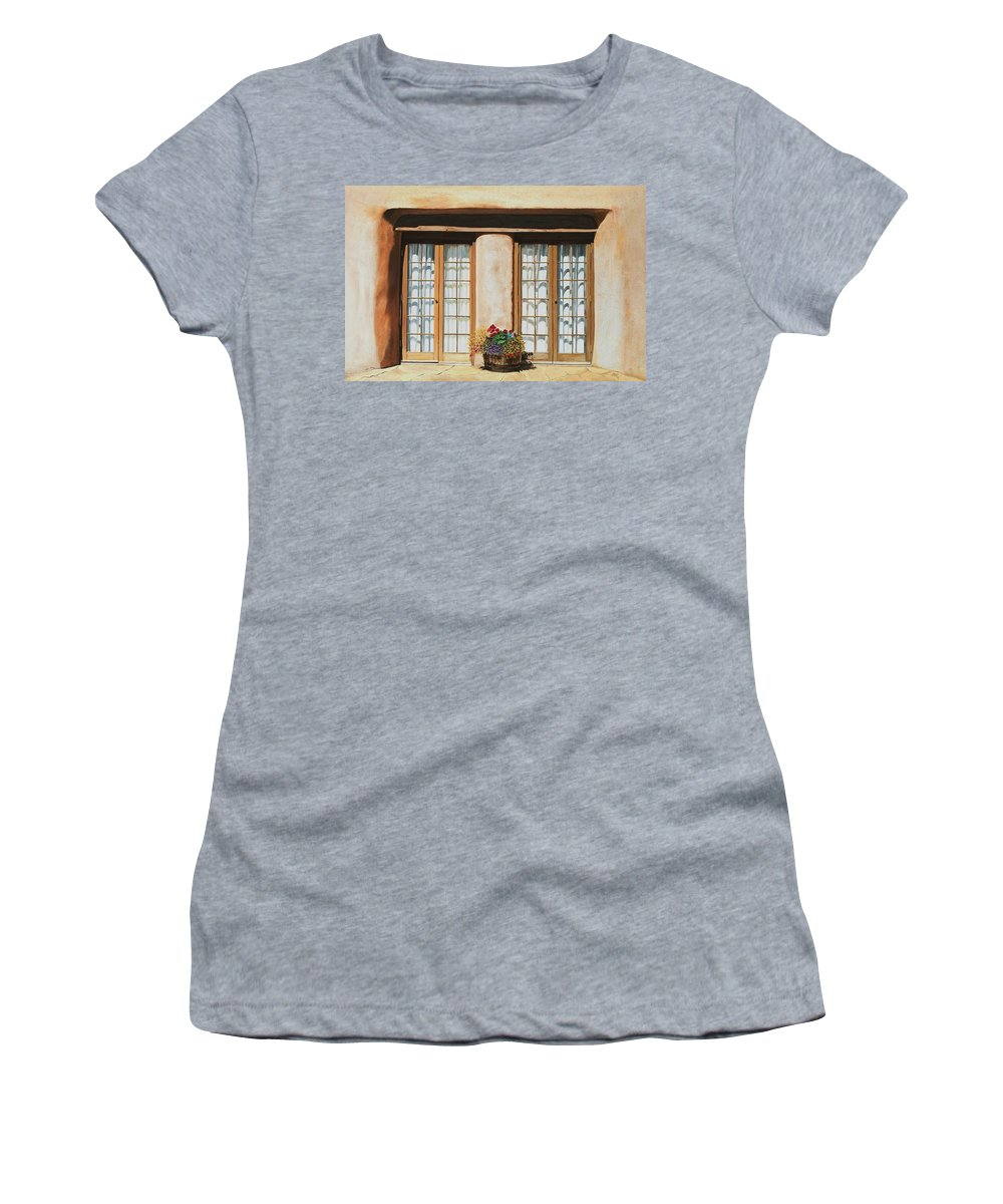 Usa Women's T-Shirt (Athletic Fit) featuring the painting Doors Of Santa Fe by Mary Rogers