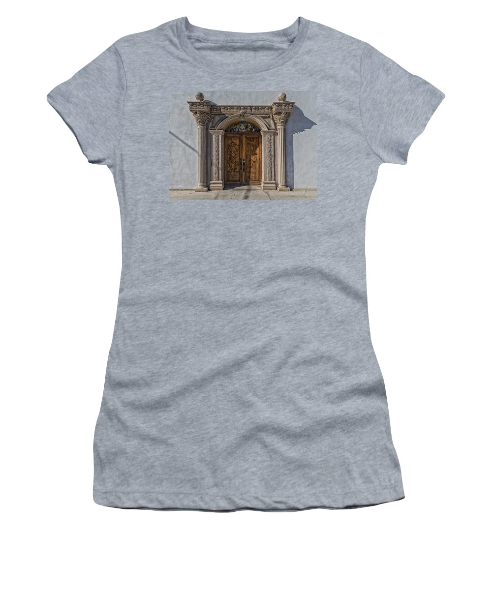 Texas Women's T-Shirt (Athletic Fit) featuring the photograph Doorway Of The Santa Teresa De Jesus Church by Mountain Dreams