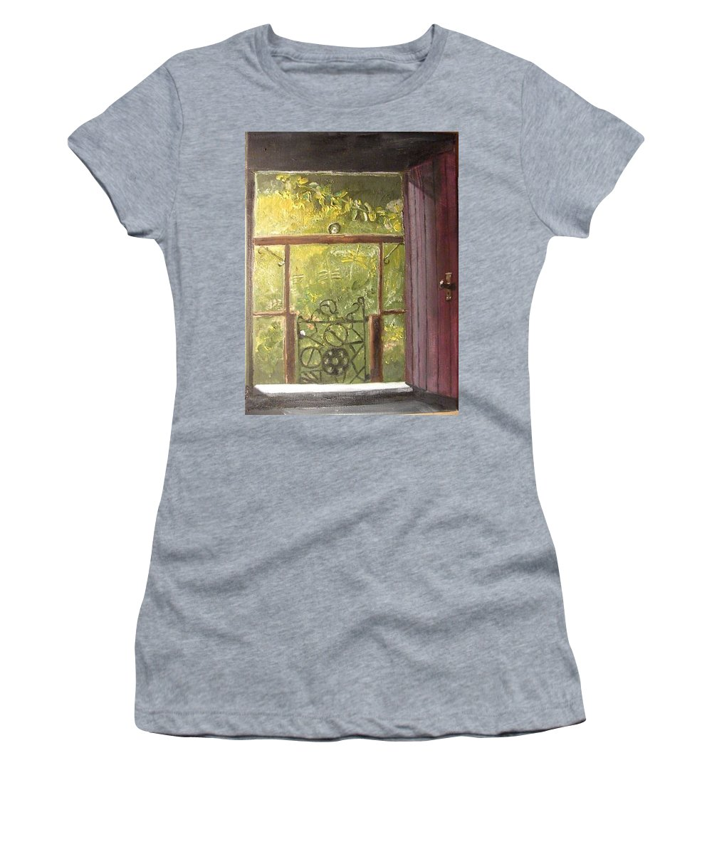 Impressionistic Women's T-Shirt featuring the painting Doorway To The Garden by John Dix