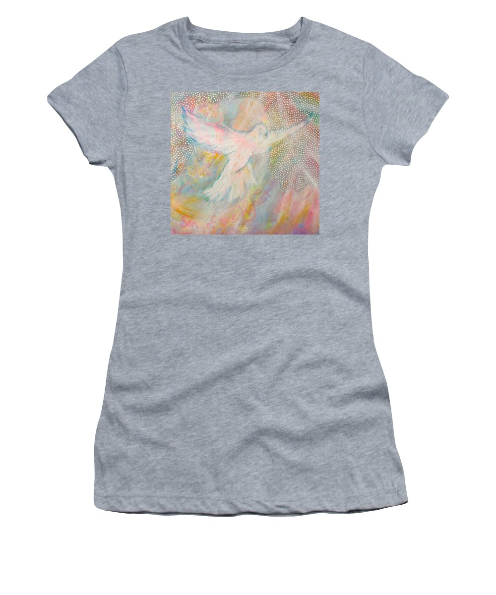Dove Women's T-Shirt (Athletic Fit) featuring the painting Dove Detail From Immaculate Conception by Anne Cameron Cutri