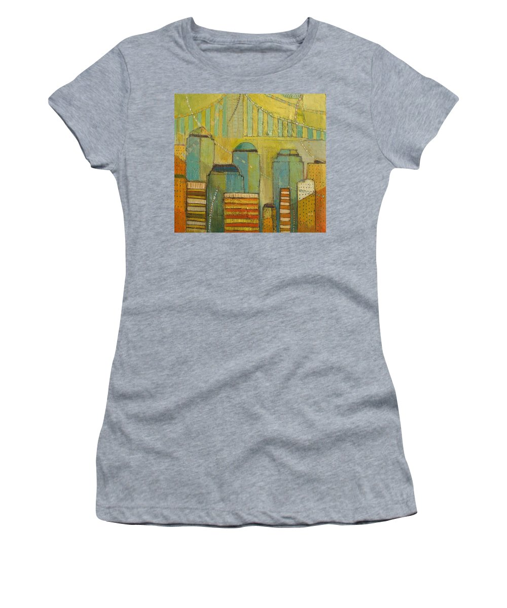 Women's T-Shirt (Athletic Fit) featuring the painting Downtown Manhattan by Habib Ayat