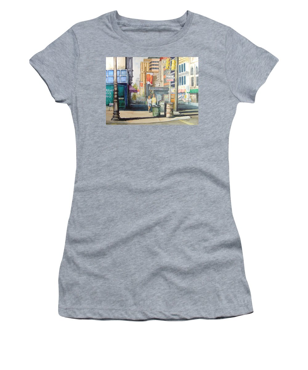 City Women's T-Shirt (Athletic Fit) featuring the painting Downtown by Sam Sidders