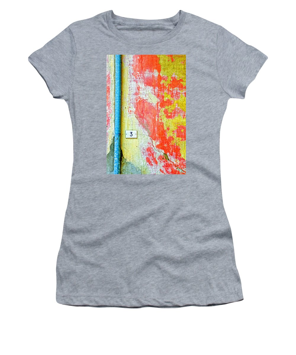 Numbers Women's T-Shirt (Athletic Fit) featuring the photograph Drainpipe Amazing Wall And Number Three by Silvia Ganora