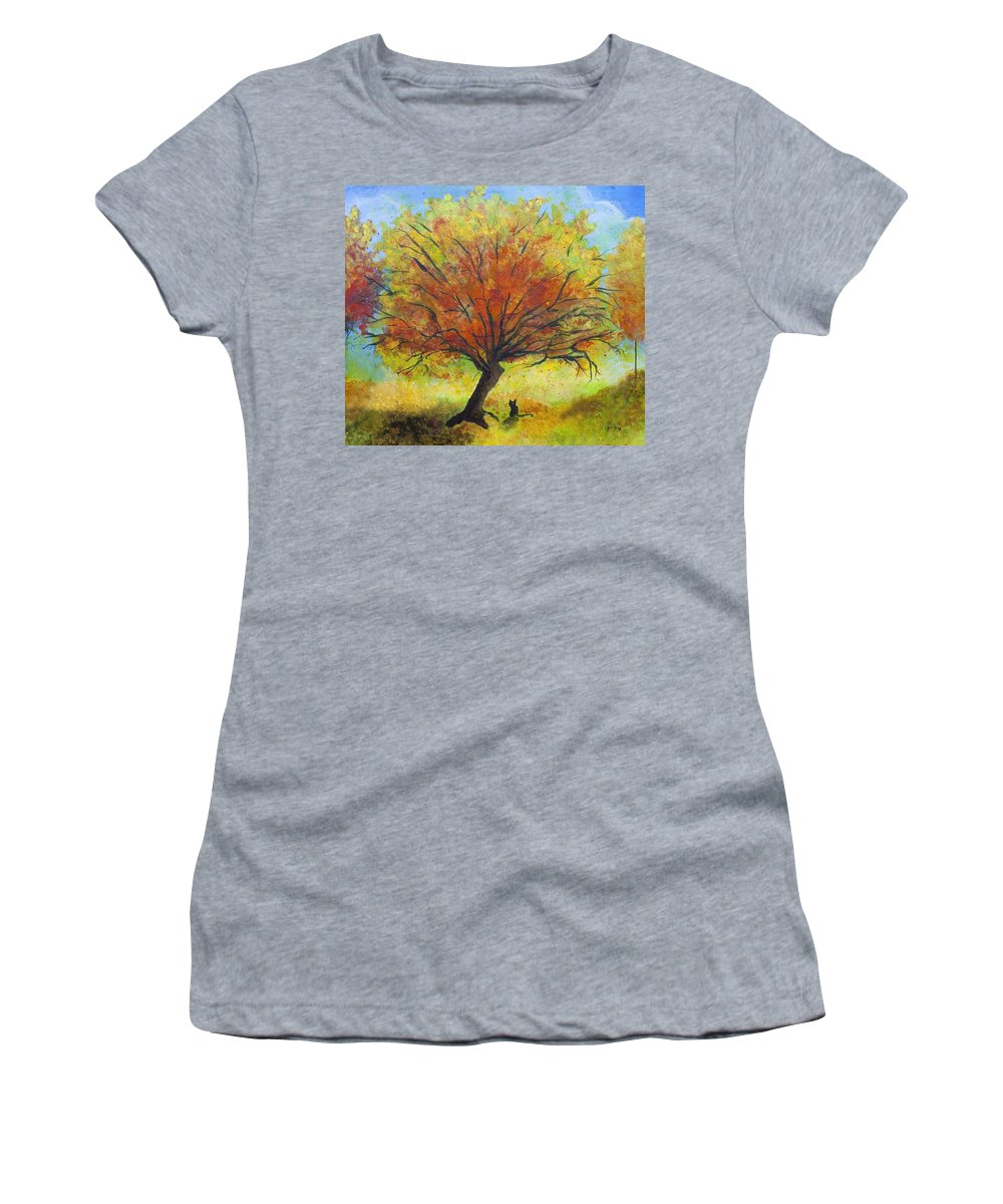 Fall Landscape Women's T-Shirt featuring the painting Dreaming Amber by Jaime Haney