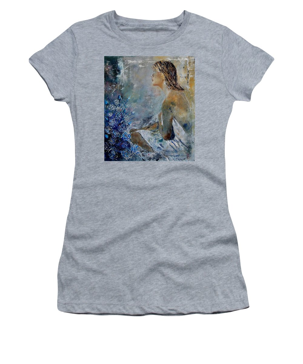 Girl Women's T-Shirt (Athletic Fit) featuring the painting Dreaming Young Girl by Pol Ledent