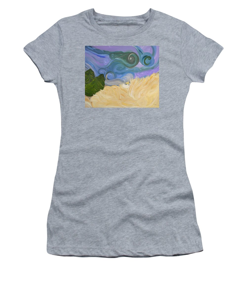 Abstract Women's T-Shirt (Athletic Fit) featuring the painting Dreamweaving by Sara Credito