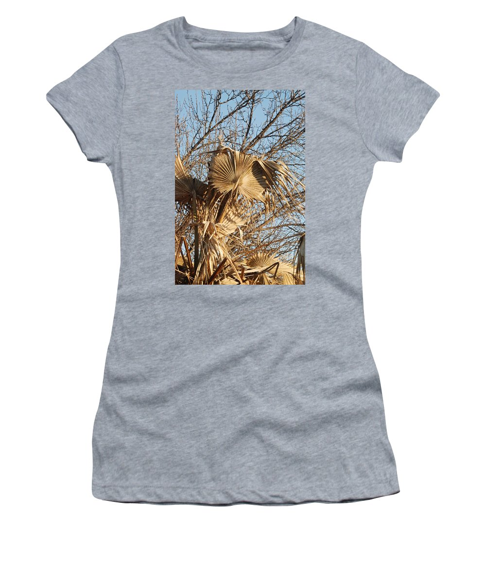 Gold Women's T-Shirt featuring the photograph Dried Palm Fronds by Katherine Nutt