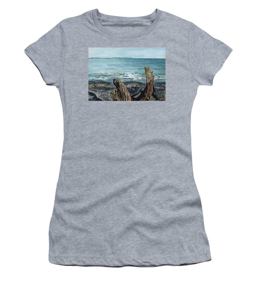 Watercolor Women's T-Shirt (Athletic Fit) featuring the painting Driftwood by Brenda Owen