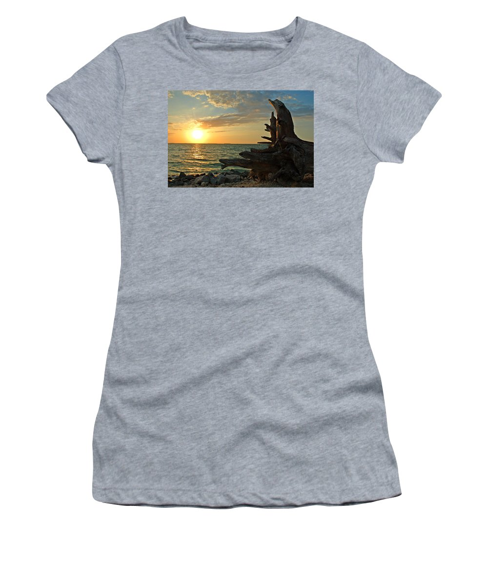 Sunset Women's T-Shirt featuring the photograph Driftwood Sunset by Susanne Van Hulst