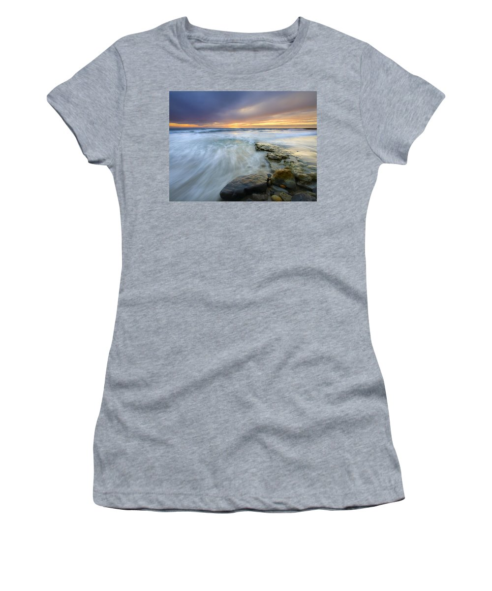 Rocks Women's T-Shirt (Athletic Fit) featuring the photograph Driven Before The Storm by Mike Dawson