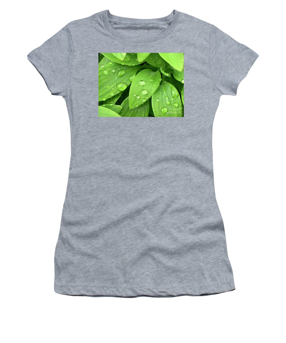 Allergy Women's T-Shirt (Athletic Fit) featuring the photograph Drops On Leaves by Carlos Caetano