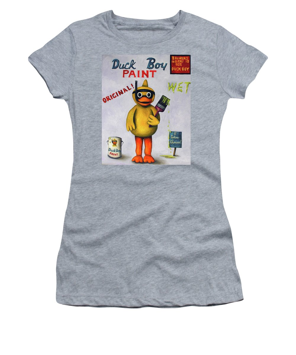 Duck Women's T-Shirt (Athletic Fit) featuring the painting Duck Boy by Leah Saulnier The Painting Maniac