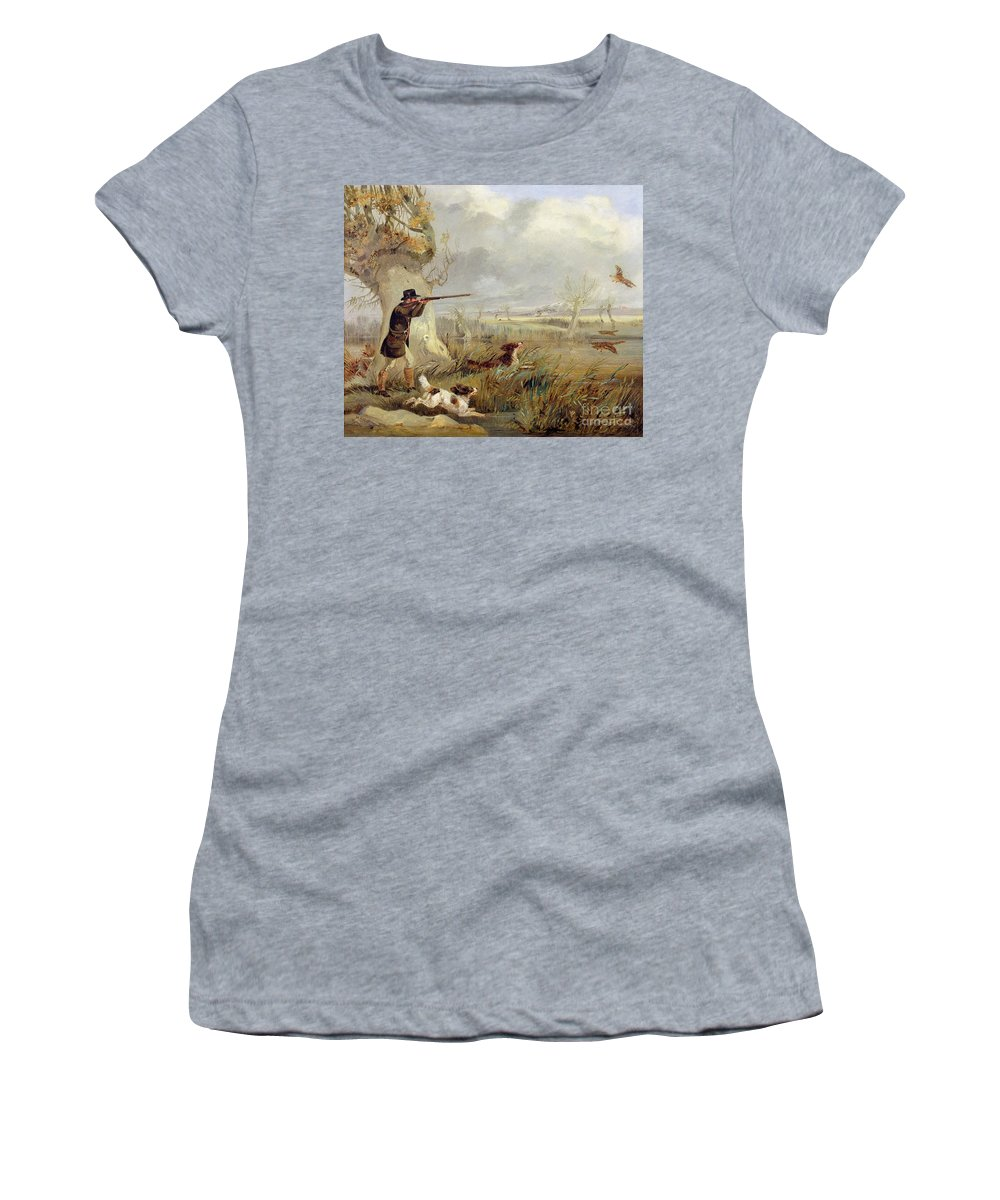 Duck Women's T-Shirt featuring the painting Duck Shooting by Henry Thomas Alken