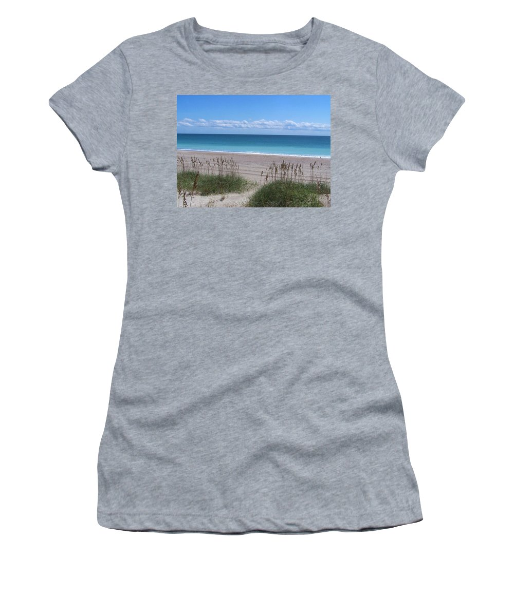 Beach Women's T-Shirt (Athletic Fit) featuring the photograph Dunes On The Outerbanks by Sandi OReilly