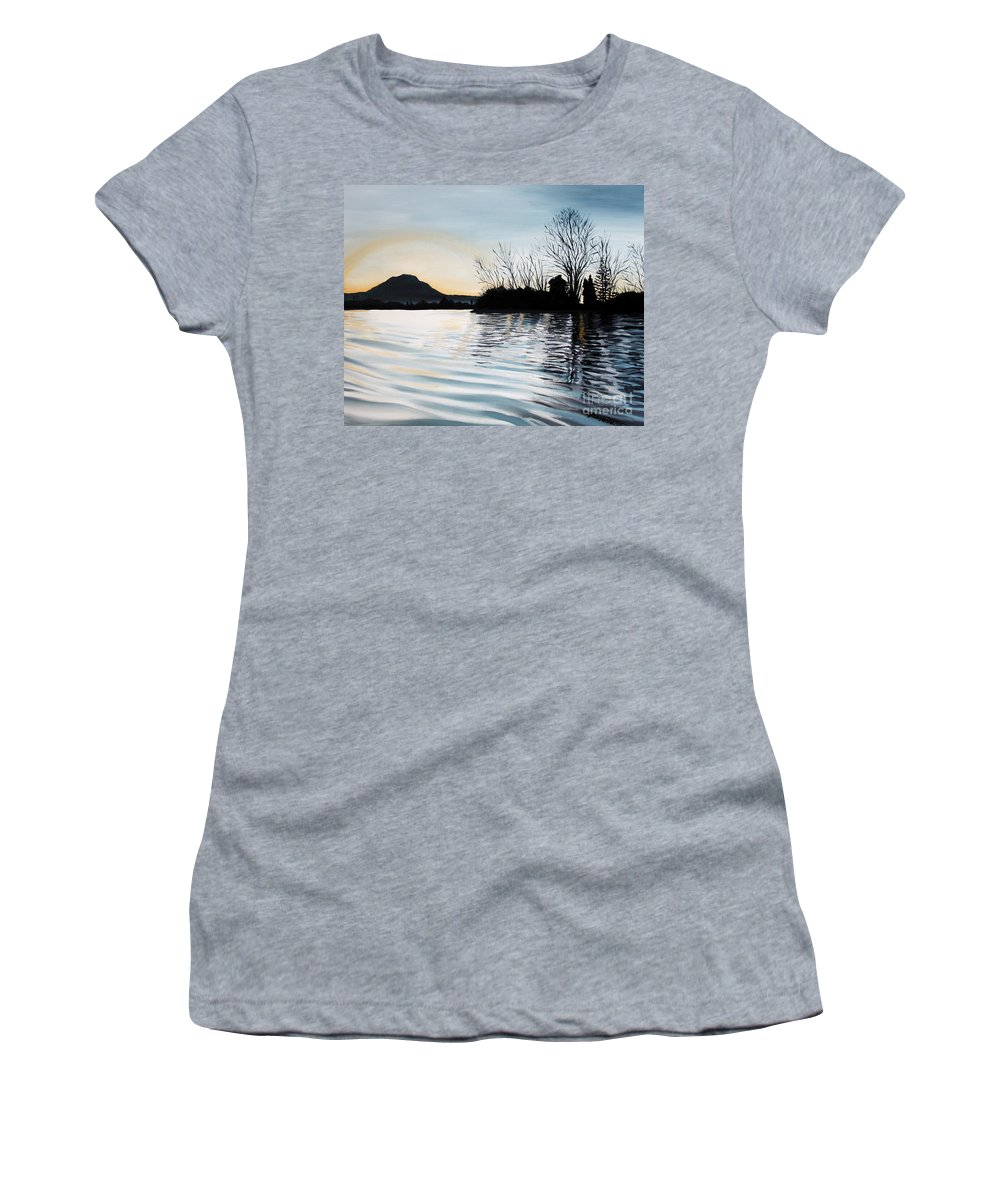 Dusk Women's T-Shirt (Athletic Fit) featuring the painting Dusk On Diablo by Elizabeth Robinette Tyndall
