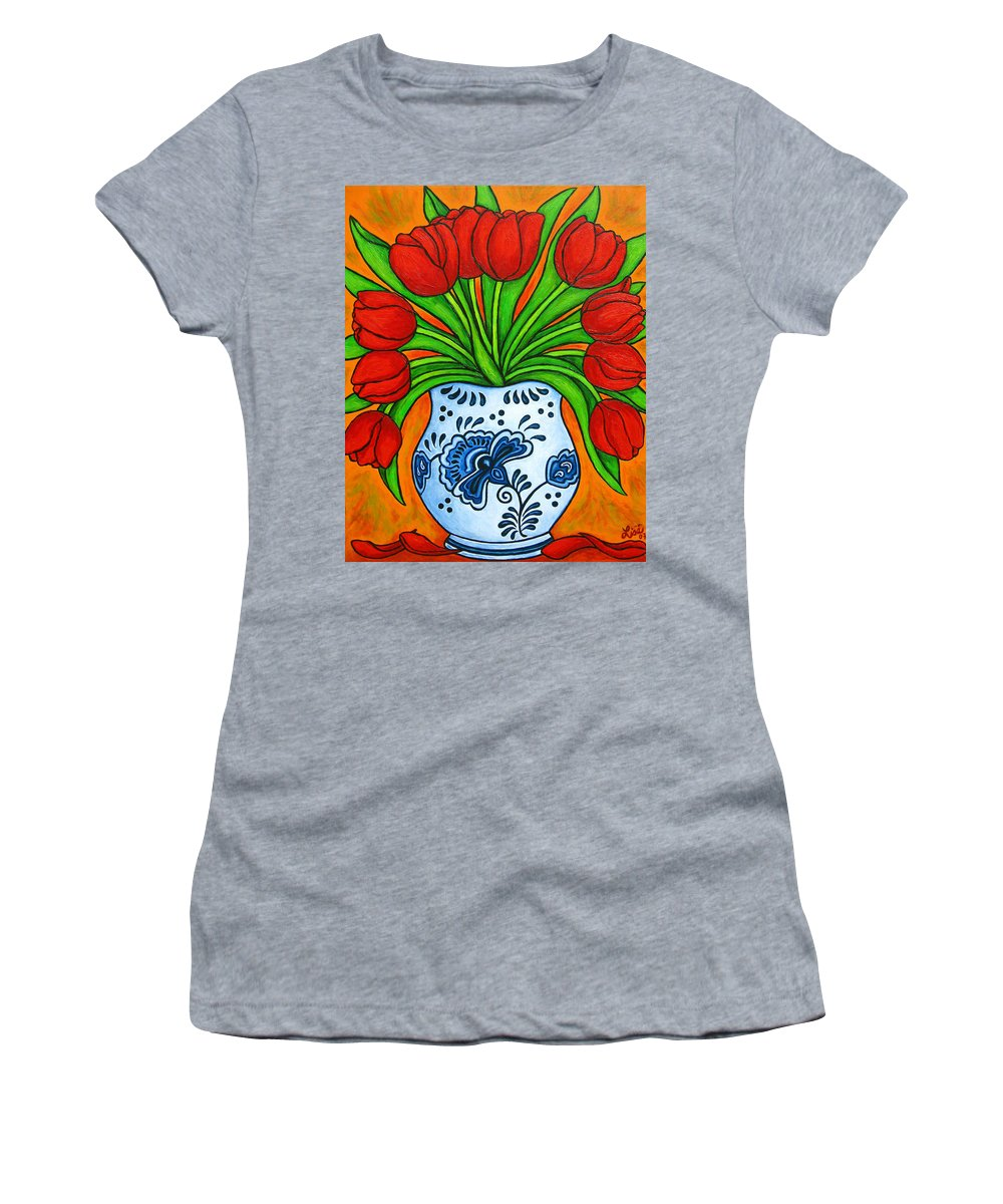 White Women's T-Shirt featuring the painting Dutch Delight by Lisa Lorenz