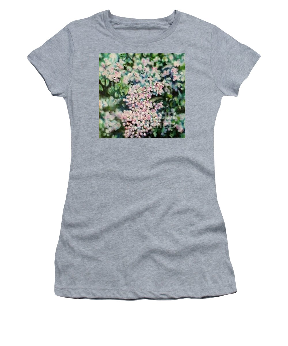 Lilacs Women's T-Shirt (Athletic Fit) featuring the painting Dwarf Korean Lilac by Karen Sloan