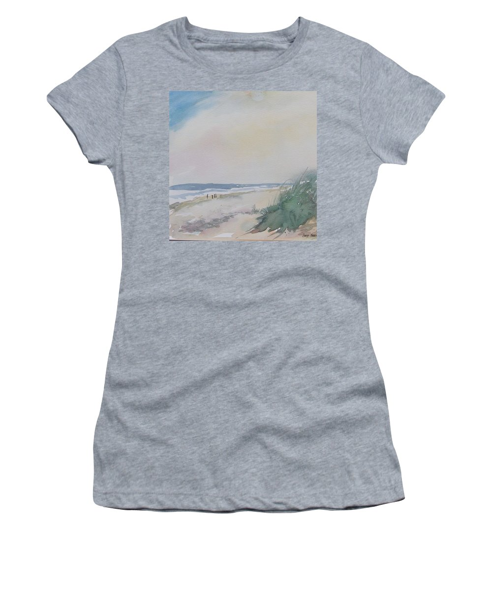 Seascape Women's T-Shirt (Athletic Fit) featuring the painting Early Birds by Mickey Bissell