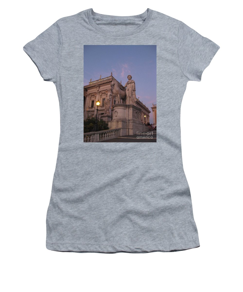 Sunset Women's T-Shirt (Athletic Fit) featuring the photograph Early Evening Rome Number Two by John Malone