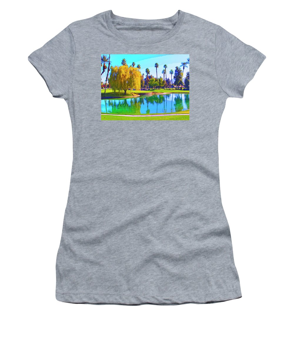 Early Morning Tee Time Women's T-Shirt (Athletic Fit) featuring the mixed media Early Morning Tee Time by Dominic Piperata