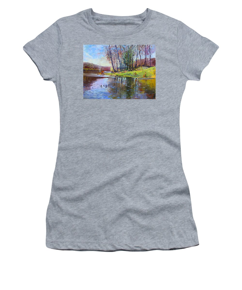 Landsape Women's T-Shirt featuring the painting Early Spring In Bear Mountain by Ylli Haruni