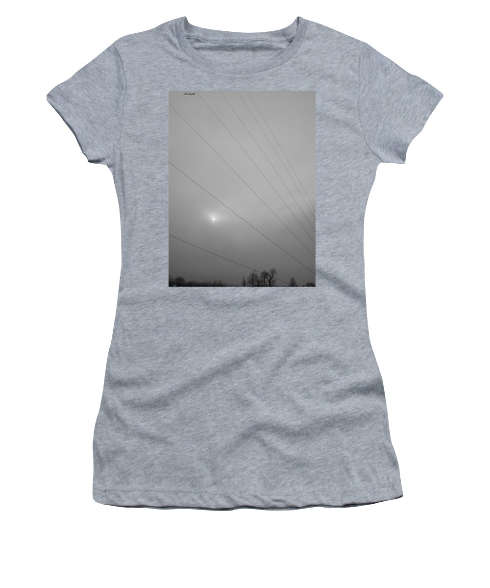 Earths Guy Wires Women's T-Shirt (Athletic Fit) featuring the photograph Earths Guy Wires by Ed Smith